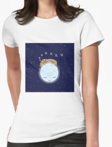 Sleeping Dog & Nightime Moon Womens Fitted T-Shirt