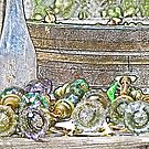 Stylized photo of antique glass door knobs. by NaturaLight