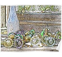 Stylized photo of antique glass door knobs. Poster