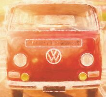 Artistic digital drawing of a VW Combie campervan by Ryan Jorgensen