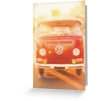 Artistic digital drawing of a VW Combie campervan Greeting Card