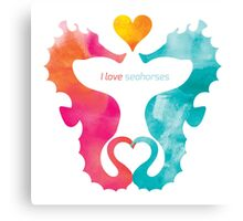 Love Seahorses - Heart Sun Canvas Print