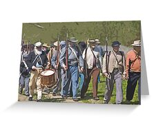 Stylized photo of Civil War re-enactor soldiers returning to camp after a battle. Greeting Card