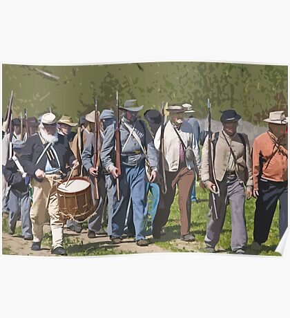 Stylized photo of Civil War re-enactor soldiers returning to camp after a battle. Poster