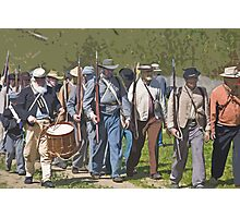 Stylized photo of Civil War re-enactor soldiers returning to camp after a battle. Photographic Print