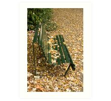 Leaves on Bench Art Print