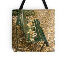 Leaves on Bench Tote Bag