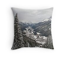 Snowy Valley Throw Pillow