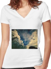 Eerie skyscape Women's Fitted V-Neck T-Shirt