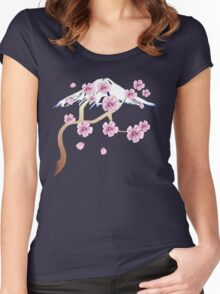 Cherry Blossoms and Mt. Fuji Women's Fitted Scoop T-Shirt