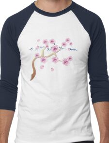 Cherry Blossoms and Mt. Fuji Men's Baseball ¾ T-Shirt