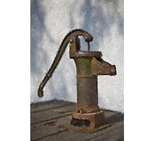 Stylized photo of a hand water pump at a horse trough in Old Town State Historic Park, San Diego CA. Photographic Print