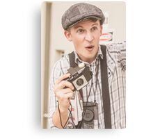 Press photographer with great exposure Canvas Print