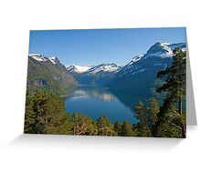 Trees, lake and mountains Greeting Card