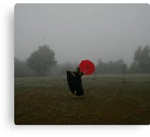 Fog With Red Umbrella 1 Canvas Print