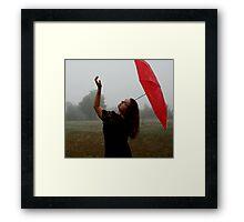 Fog With Red Umbrella 3 Framed Print