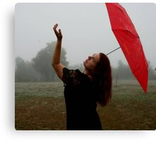 Fog With Red Umbrella 3 Canvas Print