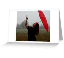 Fog With Red Umbrella 3 Greeting Card