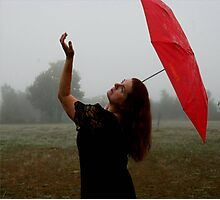 Fog With Red Umbrella 3 Photographic Print