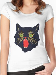 6o's halloween cat design  Women's Fitted Scoop T-Shirt