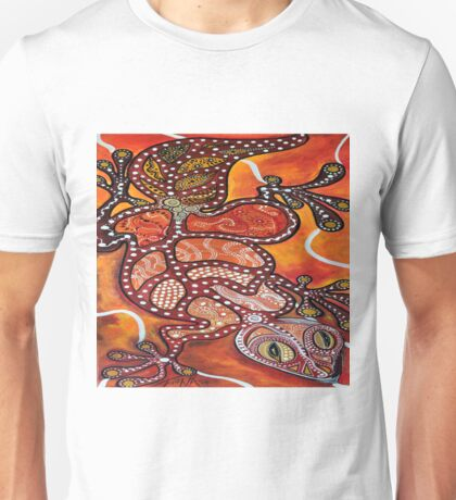 Dynamic Gecko in Orchres and Brown Unisex T-Shirt