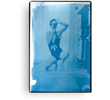 in the mirror...... cyanotype on arches watercolour paper Canvas Print