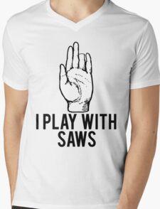 I Play With Saws Funny Carpenter Mens V-Neck T-Shirt