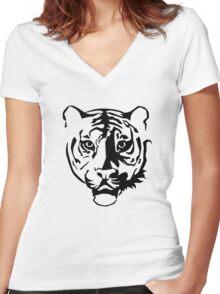 Black tiger Women's Fitted V-Neck T-Shirt