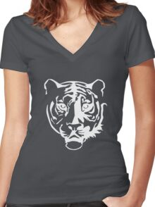 White tiger Women's Fitted V-Neck T-Shirt