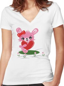 Bunny Love Women's Fitted V-Neck T-Shirt