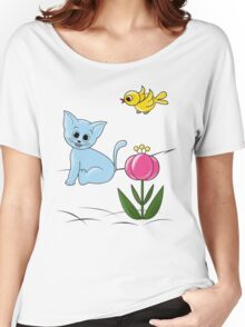 Smiling Cat Women's Relaxed Fit T-Shirt