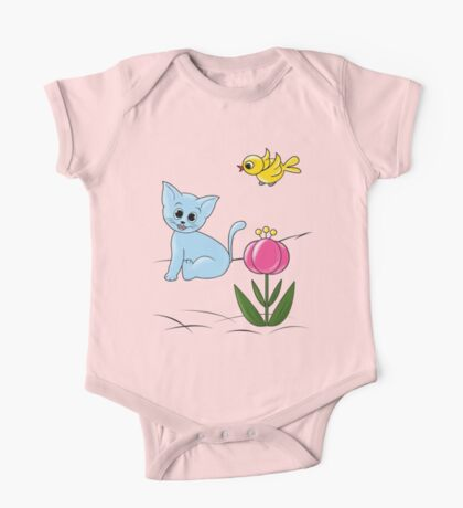 Smiling Cat One Piece - Short Sleeve