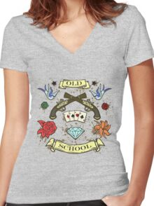 OLD SCHOOL Women's Fitted V-Neck T-Shirt