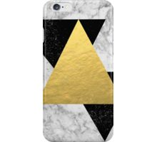 Marble Tri Black & Gold - gold foil, gold, marble, black and white, trendy, luxe, gold phone iPhone Case/Skin