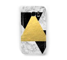 Marble Tri Black & Gold - gold foil, gold, marble, black and white, trendy, luxe, gold phone Samsung Galaxy Case/Skin