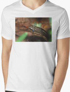 Garter Snake Portrait Mens V-Neck T-Shirt
