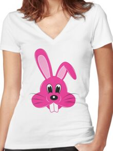 Pink Bunny Women's Fitted V-Neck T-Shirt