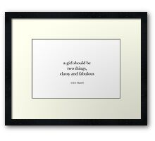 CLASSY & FABULOUS | COCO CHANEL Framed Print