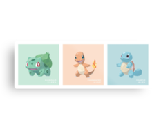 Pokemon Low Poly - 1st Gen Starters Metal Print