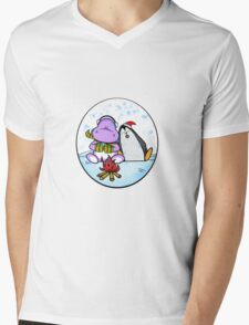 Hippo & Penguin Mens V-Neck T-Shirt
