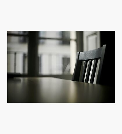 Wooden table desk and chair in empty room with window behind in beige brown colors artistic color digital photo Photographic Print
