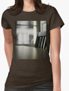 Wooden table desk and chair in empty room with window behind in beige brown colors artistic color digital photo Womens Fitted T-Shirt