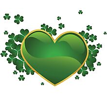 Green heart with clovers Photographic Print