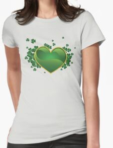 Green heart with clovers Womens Fitted T-Shirt
