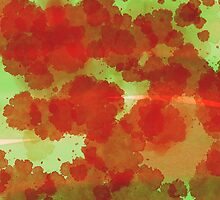 Red spots on green aquarell - minimalist pattern by Thubakabra