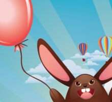 Chocolate Bunny with Balloon Sticker