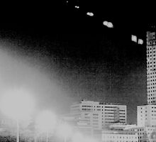 Madrid Spain city skyline at night black and white photograph by edwardolive
