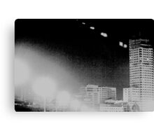 Madrid Spain city skyline at night black and white photograph Canvas Print
