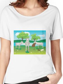 Goat and Green Lawn2 Women's Relaxed Fit T-Shirt