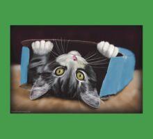 Painting of a Cute Grey Kitten in an Blue Box Kids Tee